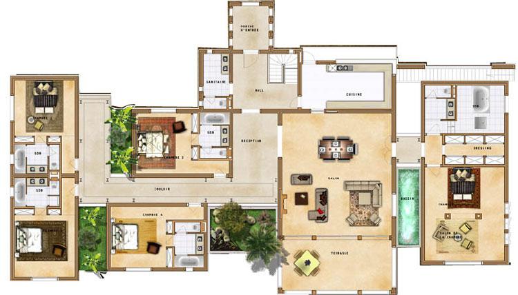 Villa sur mesure marrakech for Plan de maison de luxe avec piscine